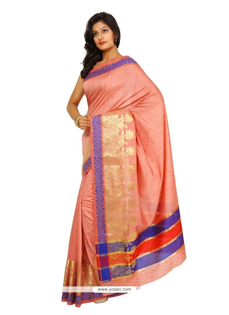 Peach Weaving Work Tissue Classic Saree