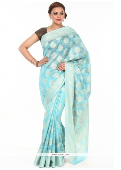 Princely Turquoise Weaving Work Fancy Fabric Classic Designer Saree