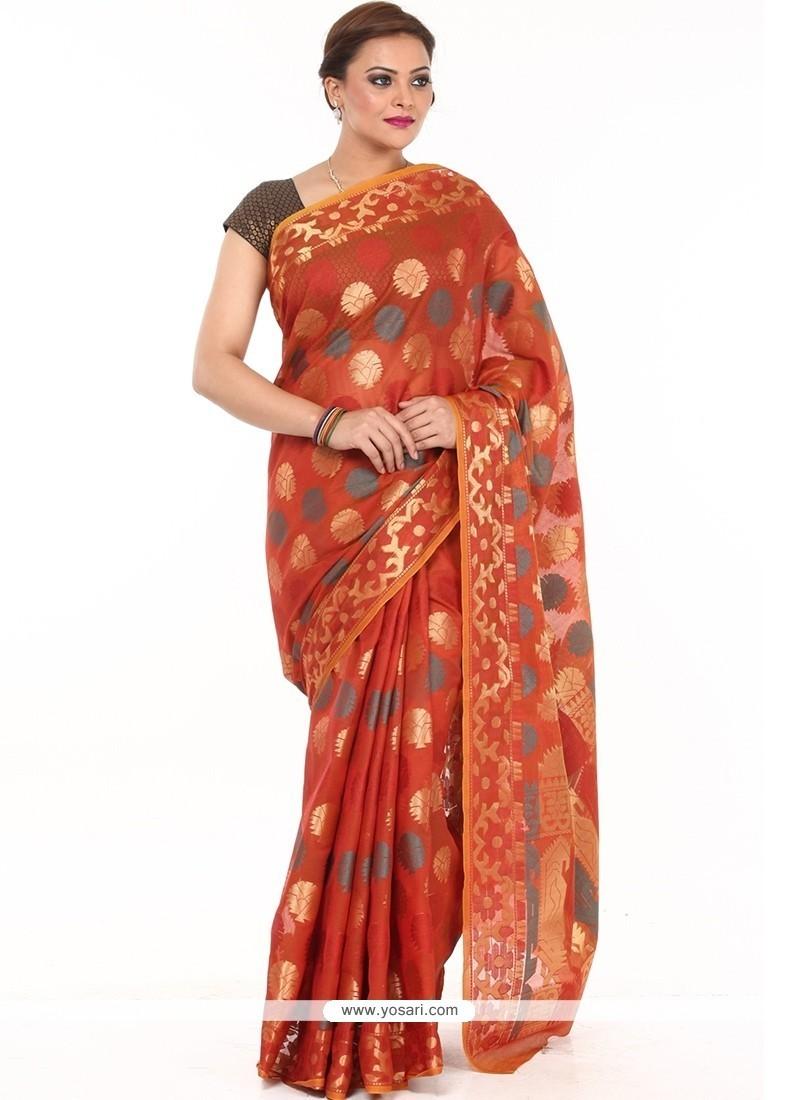 Titillating Weaving Work Orange Fancy Fabric Classic Saree