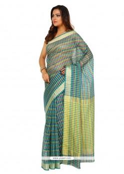 Snazzy Blue Weaving Work Art Silk Trendy Saree