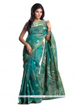 Superlative Cotton Turquoise Classic Designer Saree
