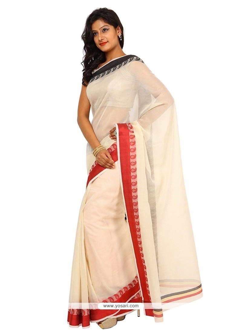 Attractive Cream Trendy Saree