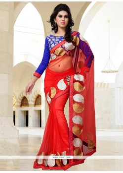 Appealing Red Net Saree