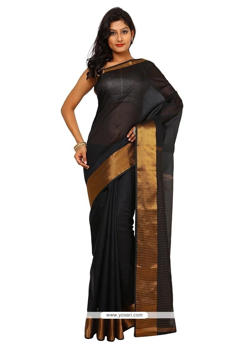 Extraordinary Weaving Work Black Traditional Saree