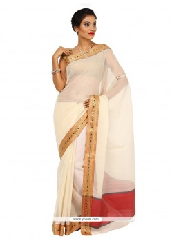 Beautiful Beige Weaving Work Art Silk Classic Designer Saree