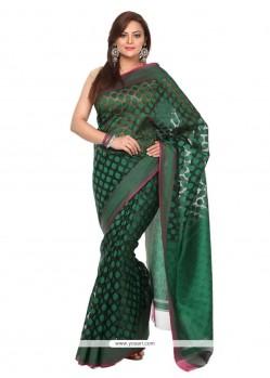 Charming Fancy Fabric Green Classic Saree