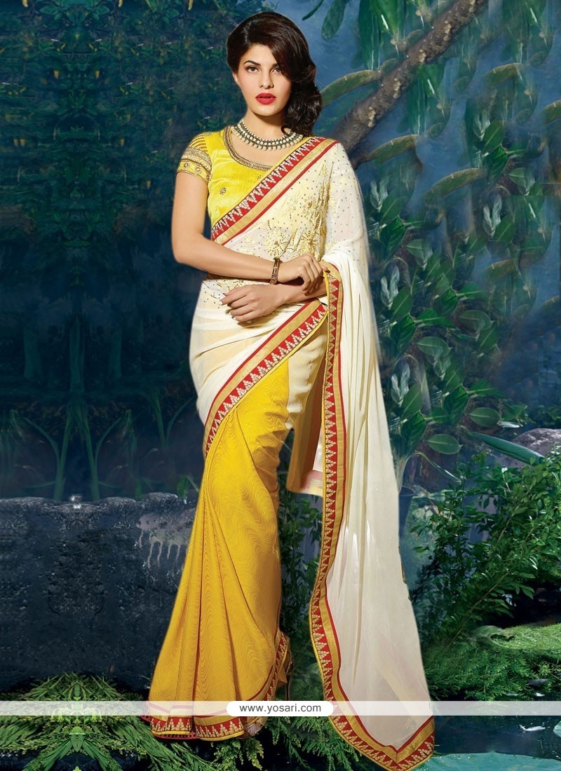 Jacqueline Fernandez Yellow And White Jacquard Saree