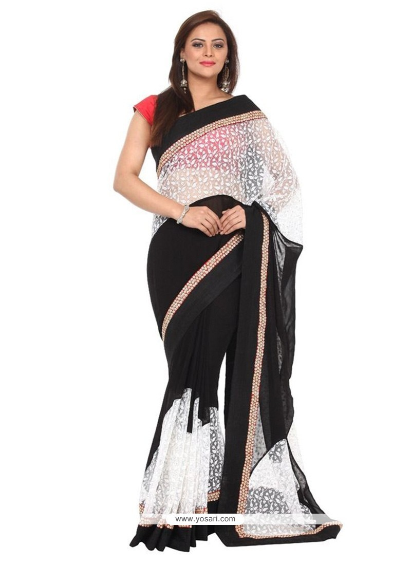 Peppy Georgette Embroidered Work Classic Saree
