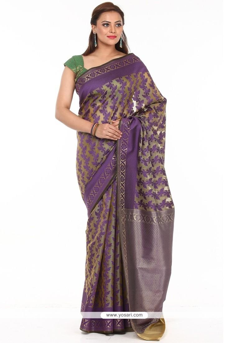 Delightful Purple Weaving Work Traditional Saree