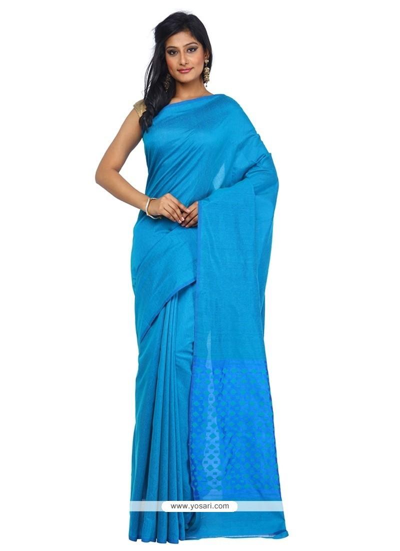 Prodigious Blue Weaving Work Art Silk Classic Saree