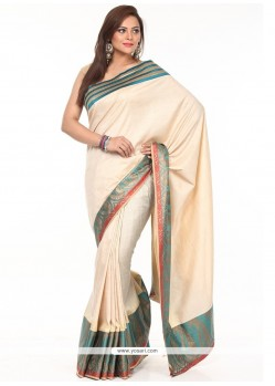 Beige Weaving Work Tissue Classic Saree