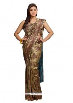 Majestic Satin Beige Traditional Saree