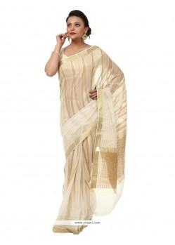 Adorning Cream Weaving Work Cotton Traditional Saree