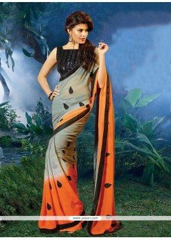 Jacqueline Fernandez Grey And Orange Chiffon Saree