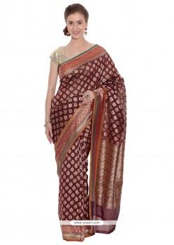 Immaculate Art Silk Maroon Weaving Work Classic Designer Saree