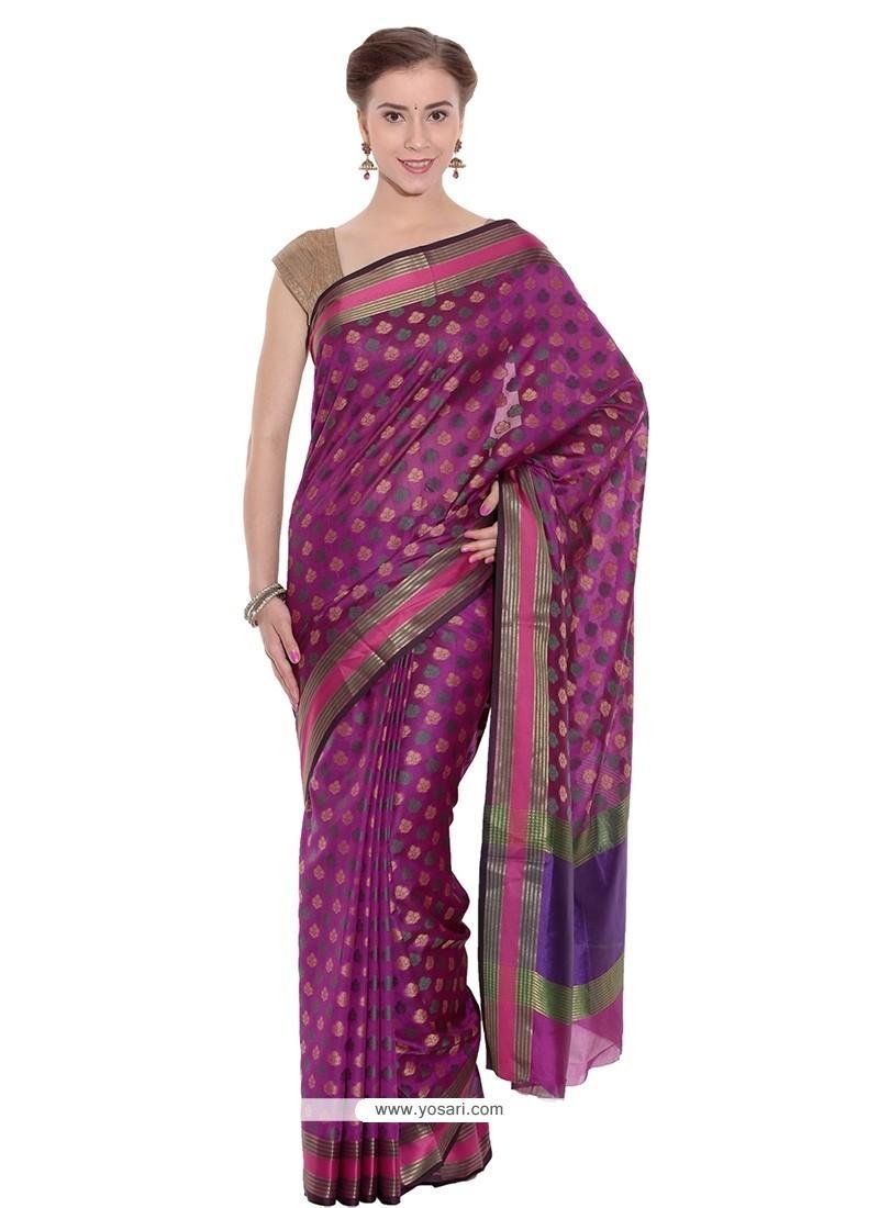 Epitome Art Silk Magenta Weaving Work Classic Saree