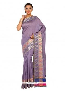 Epitome Tissue Purple Weaving Work Classic Saree