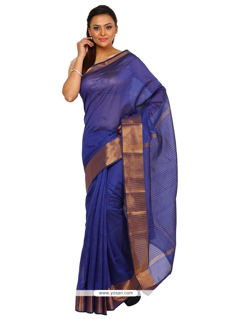 Riveting Weaving Work Blue Classic Designer Saree