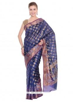 Tantalizing Navy Blue Weaving Work Traditional Saree