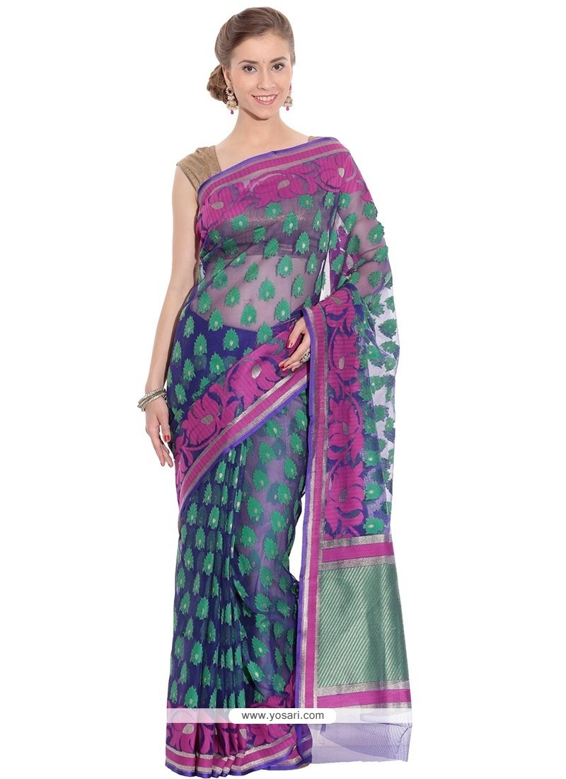 Catchy Weaving Work Navy Blue Traditional Saree