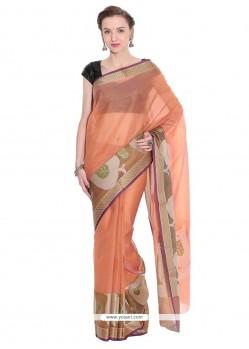 Honourable Weaving Work Orange Classic Saree