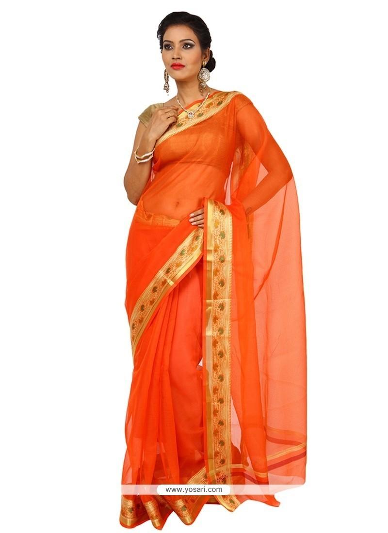 Extraordinary Orange Weaving Work Art Silk Classic Saree