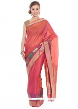 Glossy Art Silk Orange Weaving Work Traditional Saree