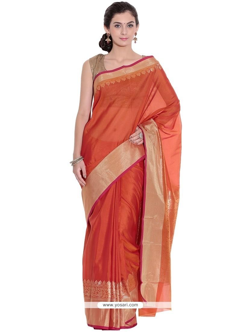 Enticing Art Silk Orange Classic Designer Saree