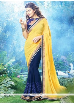 Jacqueline Fernandez Yellow And Blue Georgette Saree