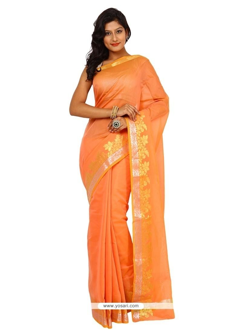 Irresistible Cotton Orange Weaving Work Trendy Saree