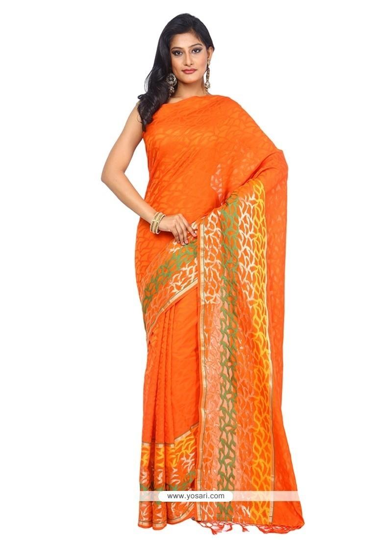 Graceful Cotton Orange Traditional Saree