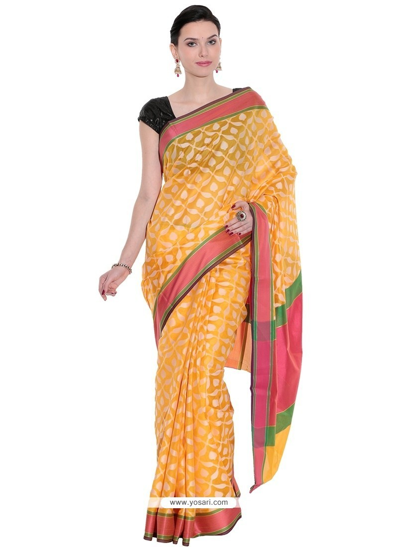Beautiful Weaving Work Orange Cotton Classic Saree