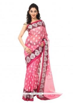 Adorable Weaving Work Pink Classic Saree