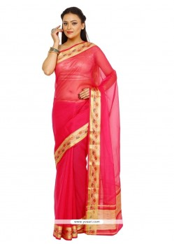 Baronial Hot Pink Weaving Work Designer Traditional Sarees