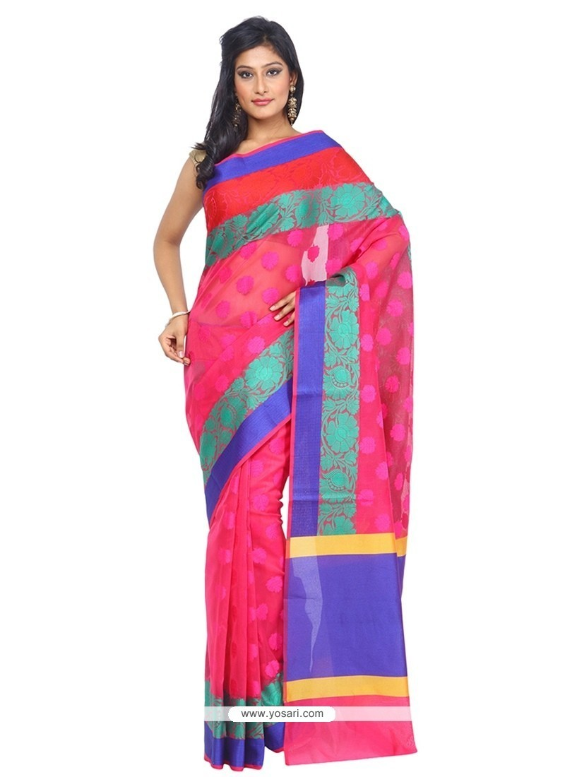 Hot Pink Weaving Work Art Silk Traditional Saree