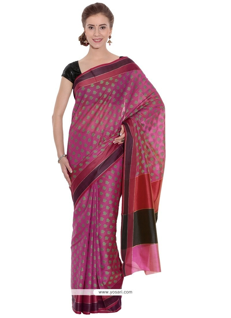 Weaving Art Silk Classic Saree In Pink
