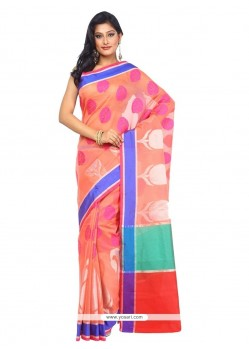 Glowing Art Silk Peach Weaving Work Traditional Saree
