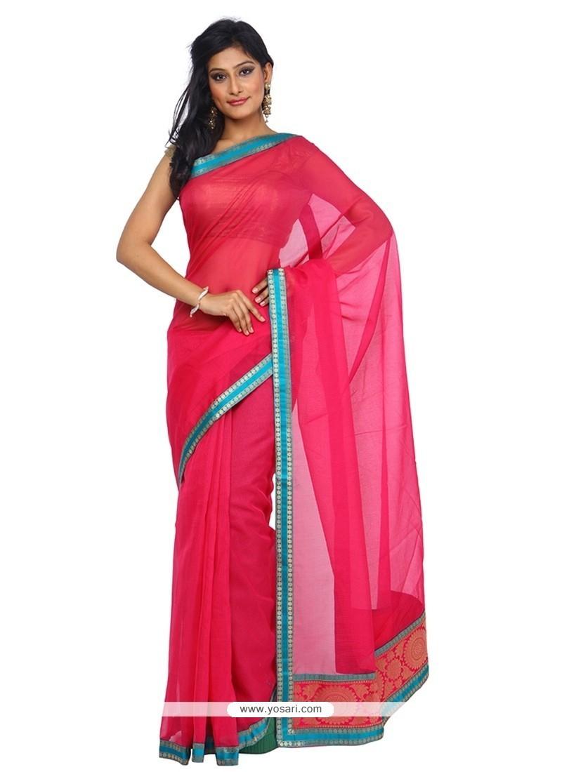 Dignified Hot Pink Weaving Work Art Silk Classic Saree