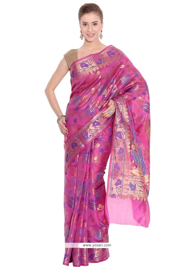 Blooming Pink Art Silk Traditional Saree