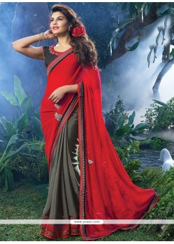 Jacqueline Fernandez Red And Grey Satin Saree
