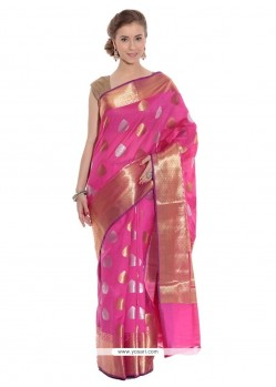 Cherubic Art Silk Pink Classic Saree