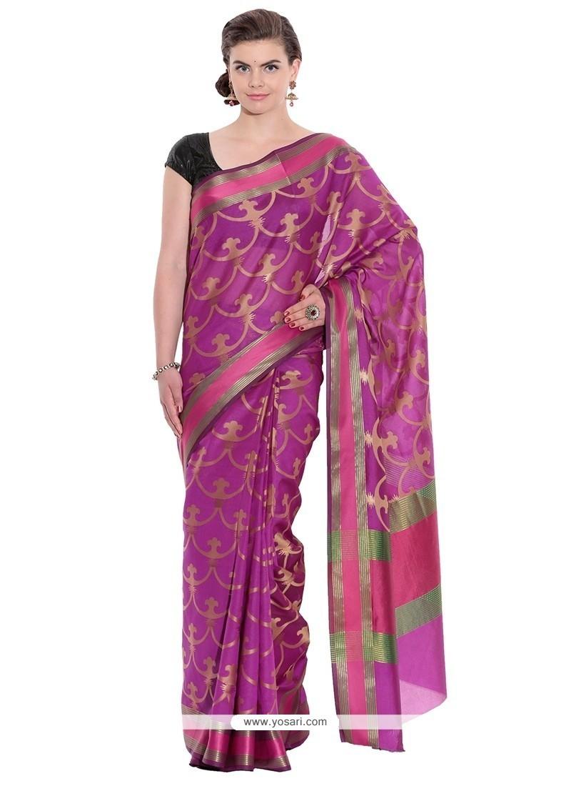 Magenta Weaving Work Art Silk Classic Designer Saree