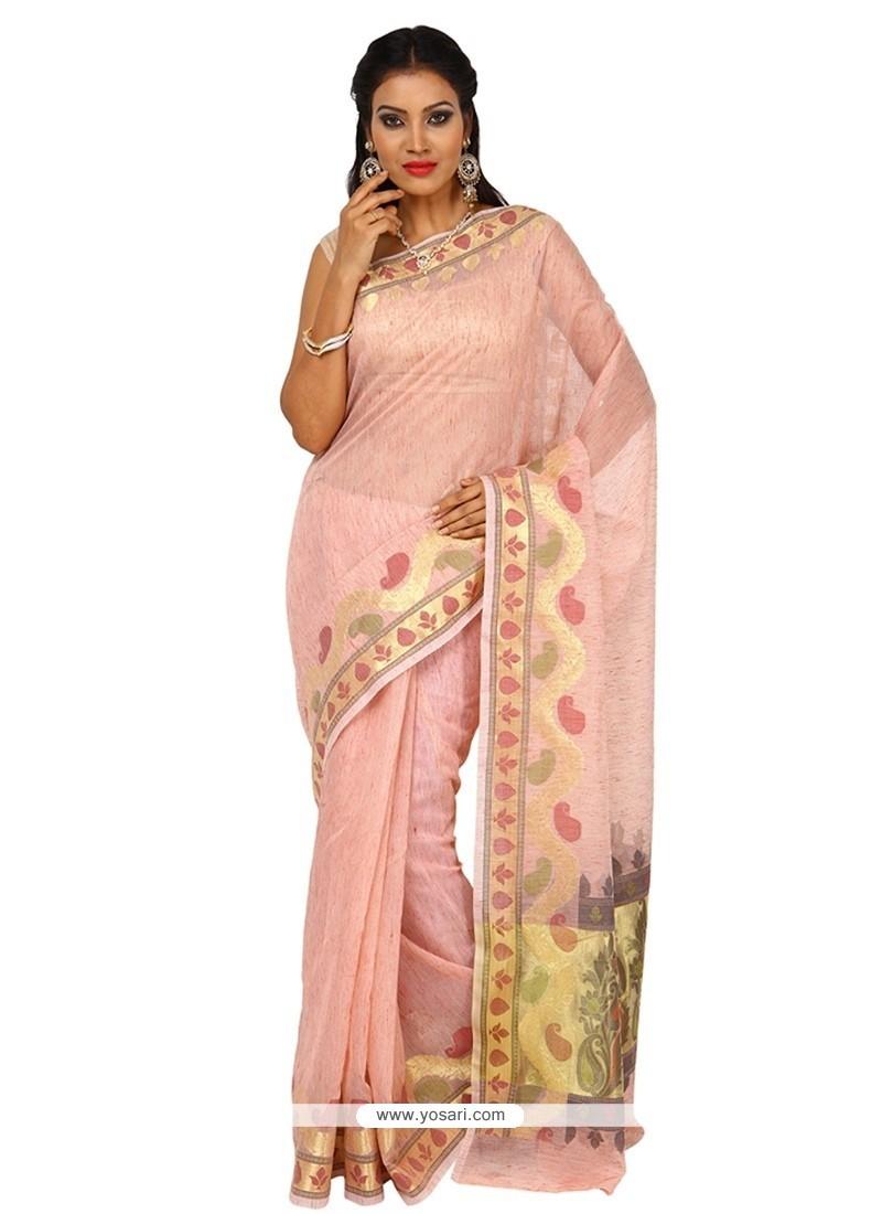Spectacular Pink Weaving Work Tissue Classic Saree