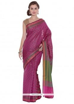 Dazzling Art Silk Magenta Weaving Work Trendy Saree