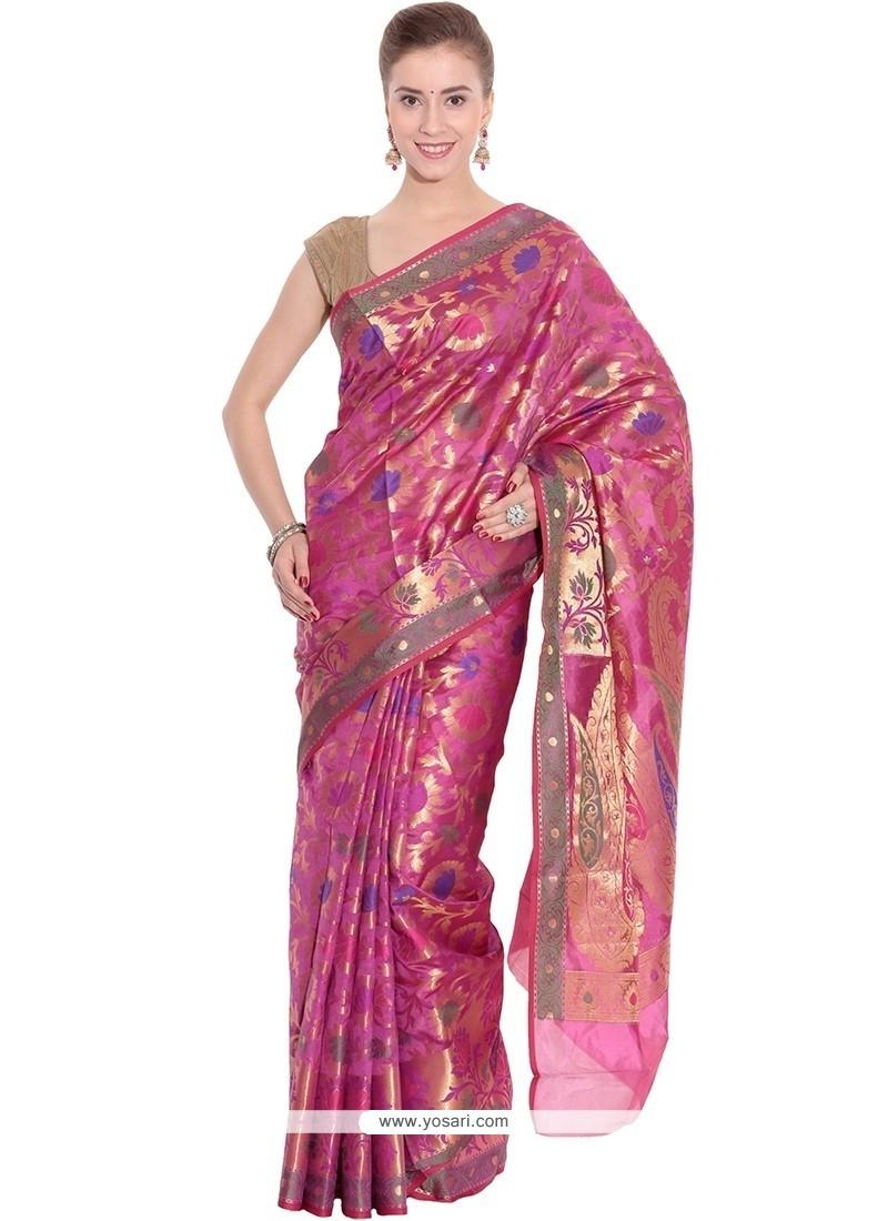 Entrancing Art Silk Weaving Work Classic Designer Saree