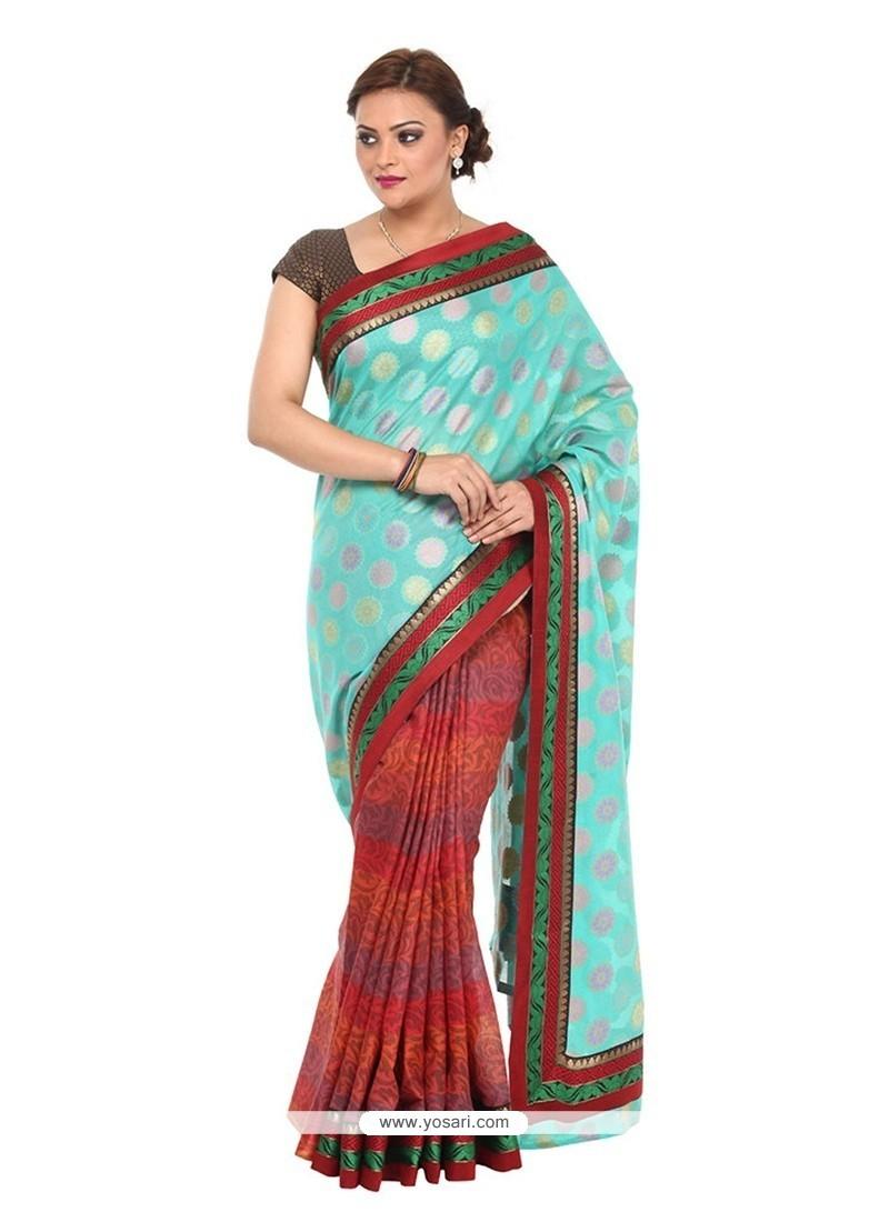 Exciting Cotton Turquoise Classic Designer Saree