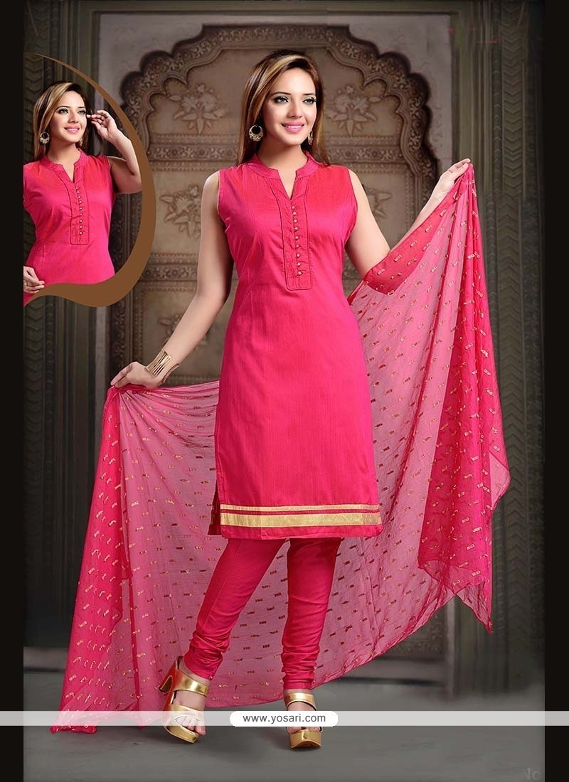 Floral Lace Work Art Silk Hot Pink Readymade Suit