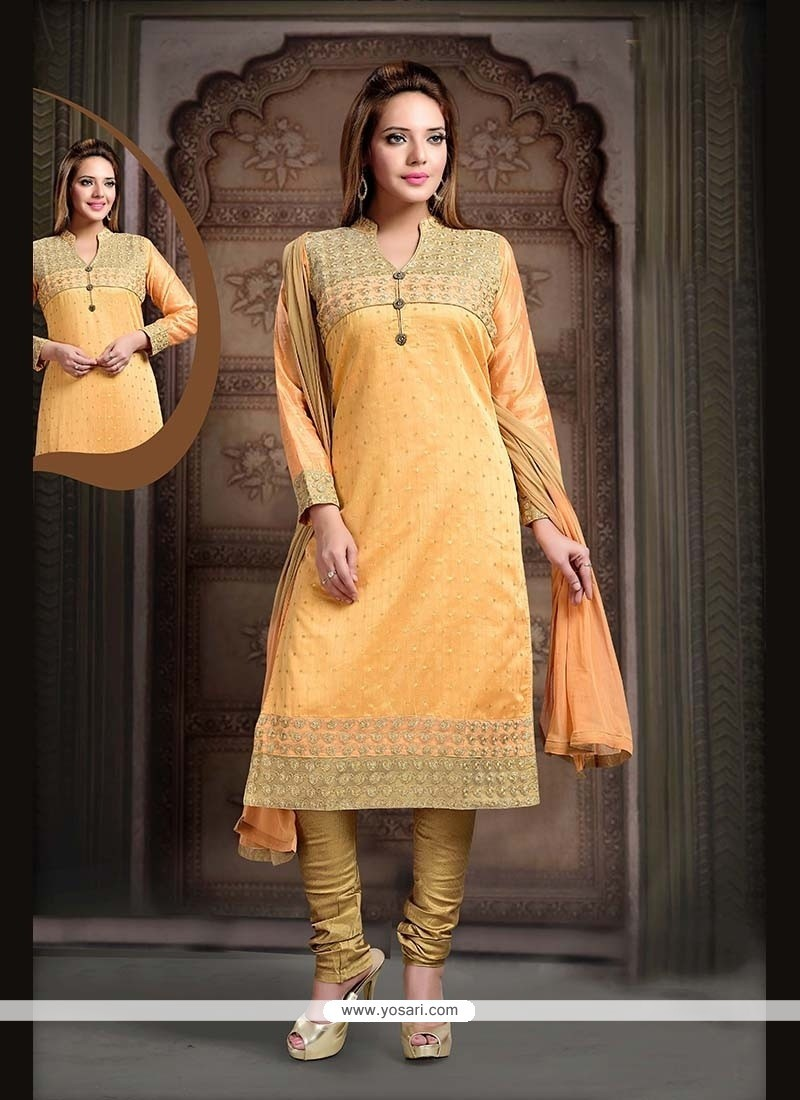 Enthralling Lace Work Mustard Net Readymade Suit