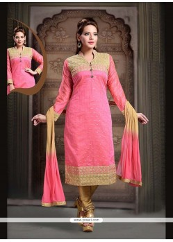Imperial Art Silk Hot Pink Embroidered Work Readymade Suit