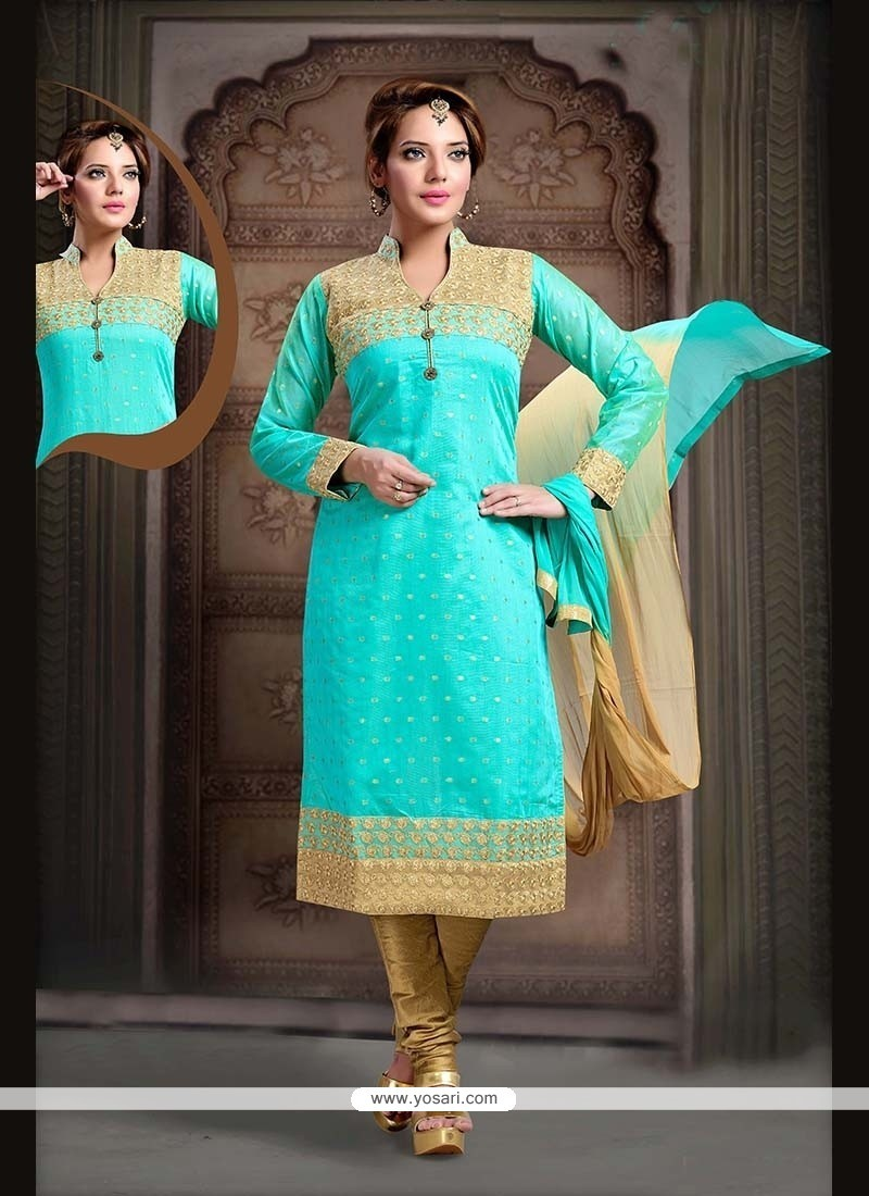 Irresistible Sea Green Embroidered Work Net Readymade Suit